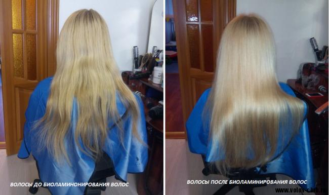 Биоламинирование волос фото до и после